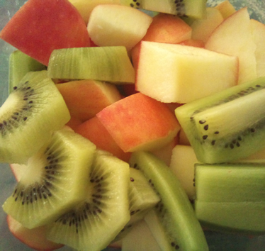 Chopped Apple and Kiwi Fruit