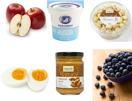 Fast snacks for fat loss: apples, natural yoghurt, macadamias, boiled eggs, almond butter, blueberries